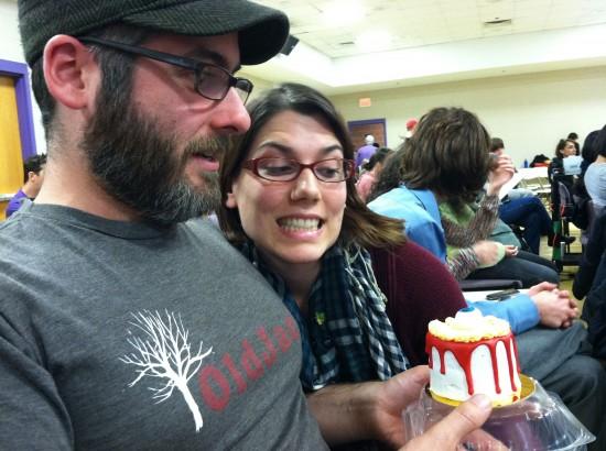 Ethan & Kristin, scary eyeball red velvet cake from Vegan Treats