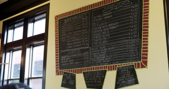 Strong Hearts Menu Board Main Tofu Seitan Sandwich Breakfast Lunch
