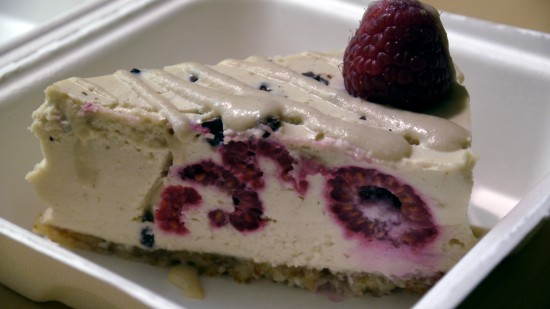 vegan cheese cake from borrowed earth cafe