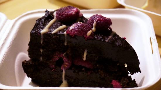 vegan chocolate cake from borrowed earth cafe
