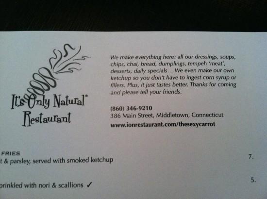 It's Only Natural veg restaurant middletown, ct