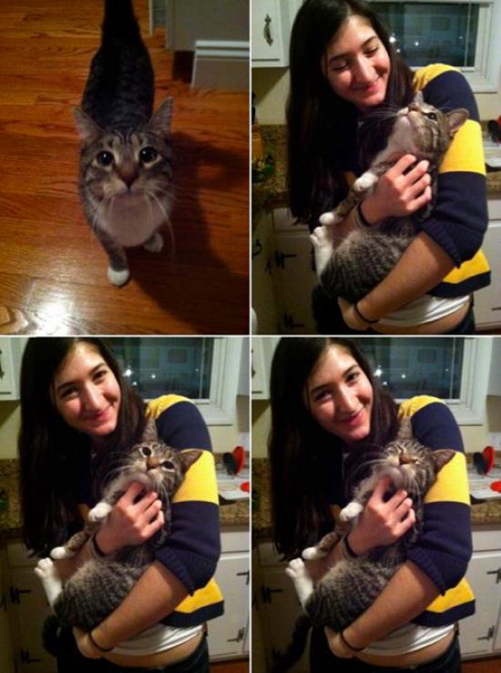 Zoe Eisenberg and her kitty, Zucchini