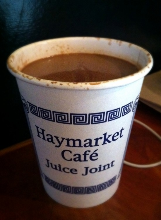 Vegan Hot Chocolate from Haymarket Cafe