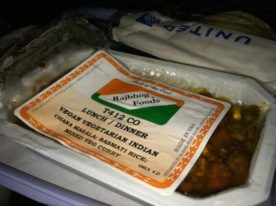 Vegan Chana Masala United Flight to Paris
