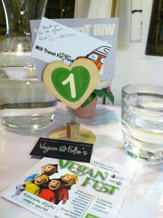 Will Travel For Vegan Food biz card and decal in Paris, France