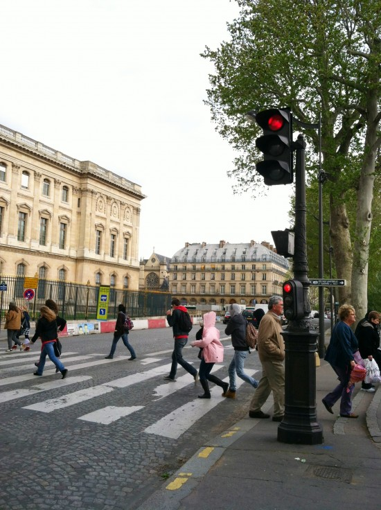 Mini stoplights for bicyclists in Paris, France