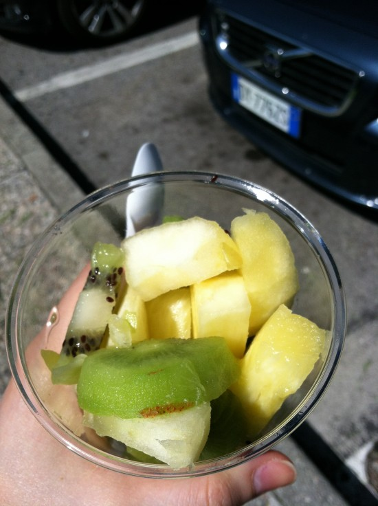Fruit breakfast, truck stop in Italy
