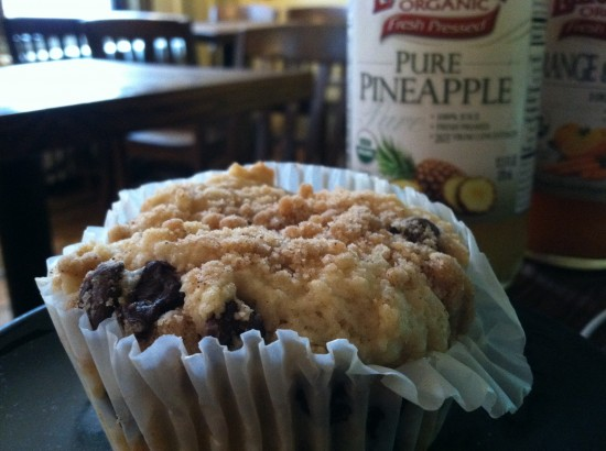vegan chocoloate chip muffin at grindcore house
