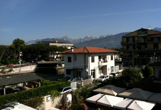 The view from our rooom at the hotel in Italy