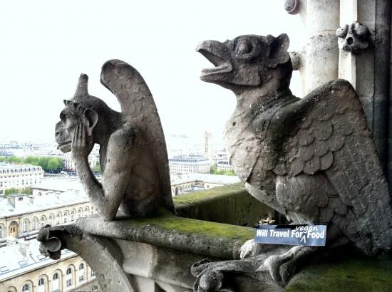 Notre Dame Gargoyles Paris France will travel for vegan food bumper sticker