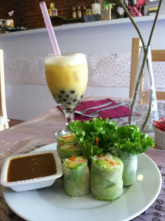 Spring rolls and bubble tea, Vegan Tree restaurant