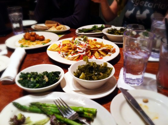 Compassion Over Killing (COK) post-leafletting-feast at Busboys and Poets in DC