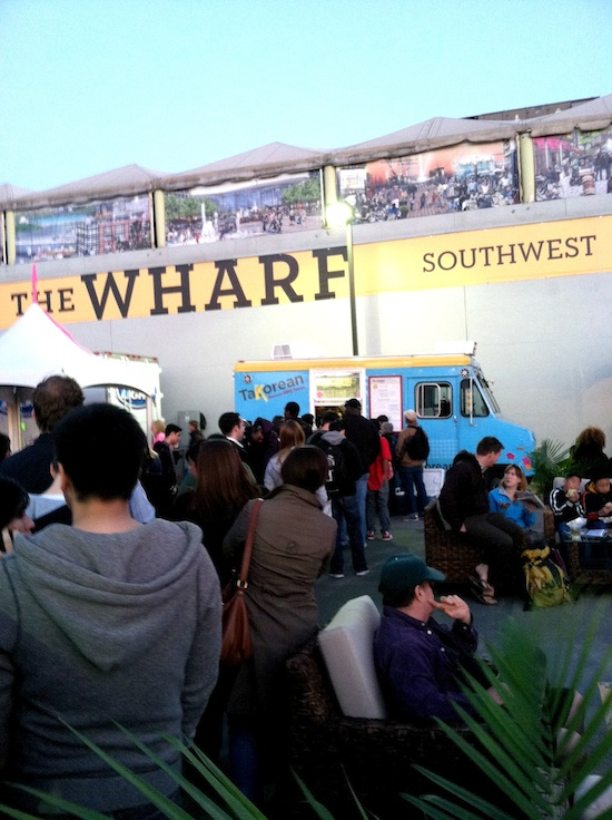 Compassion Over Killing (COK) waits in line for vegan tacos