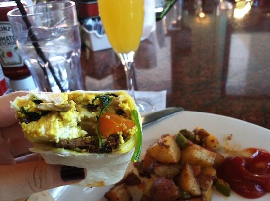Vegan breakfast wrap at Busboys and Poets in DC