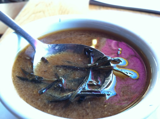 Vegan miso soup at Rosetta's Kitchen in Asheville, NC