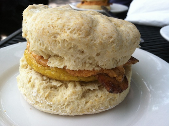 Vegan breakfast sandwich from Dulce Vegan Bakery & Cafe in Atlanta, GA