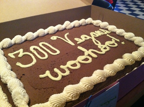"""300 Vegans"" cake from Pattycake Bakery"