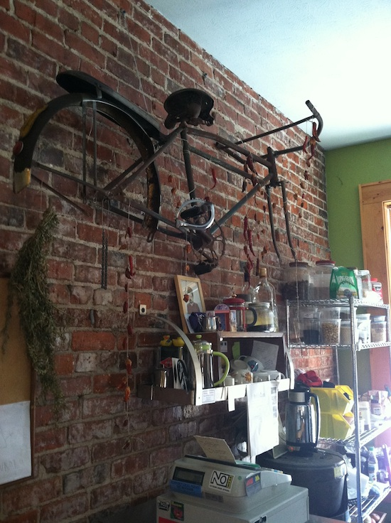 Repurposed bicycle frame - Pepe's Bistro in Lincoln, NE